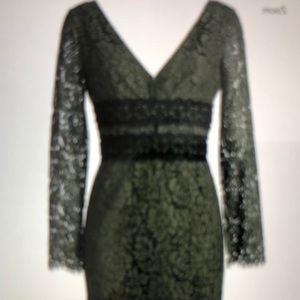 Diane von Furstenberg deep v neck olive lace dress